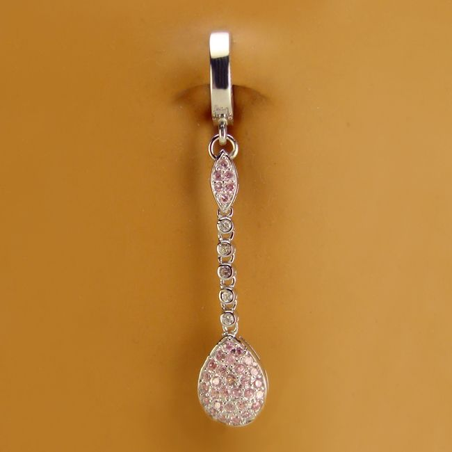 TummyToys® Long CZ Paved Pear Drop
