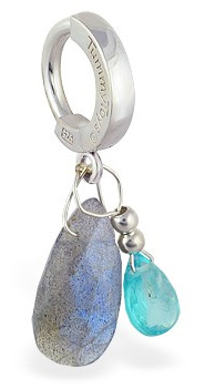 TummyToys Apatite and Labradorite Belly Ring - Solid Silver Clasp Lock Body Jewellery