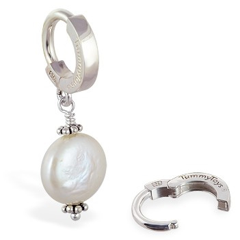 TummyToys® Silver Cream Freshwater Coin Pearl Pendant - Navel Bars Shop