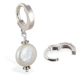 TummyToys® Silver Cream Freshwater Coin Pearl Pendant