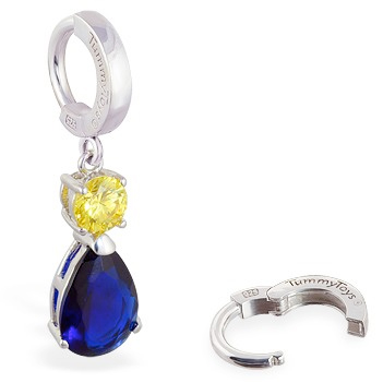 TummyToys® Sapphire and Citrine Coloured CZ Drop - Navel Bars Shop
