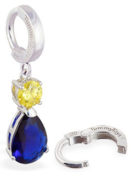 TummyToys Sapphire and Citrine Coloured CZ Drop - Solid Silver Snap Lock Belly Ring