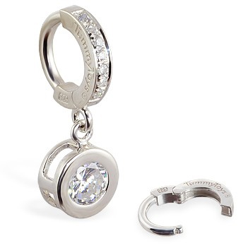TummyToys® Paved Silver Bezel Set - Belly Button Rings