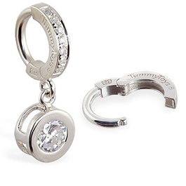 TummyToys® Paved Silver Bezel Set - Paved Classic Large Cubic Zirconia Clasp Belly Ring