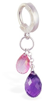 TummyToys Pink Topaz and Natural Amethyst Belly Jewellery - Sterling Silver Belly Button Ring
