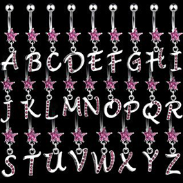 Star Initial Navel Rings - Dangling Alphabet Letter Belly Ring with Star