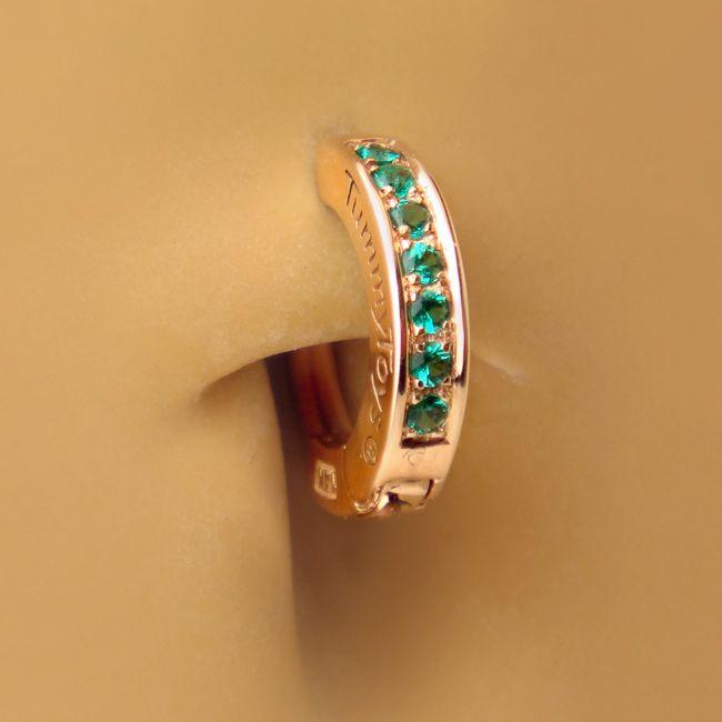tummytoys 174 gold emerald pave sleeper resizable navel