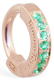 TummyToys Rose Gold Emerald Pave Sleeper - Solid 14k Rose Gold Navel Ring with Emeralds