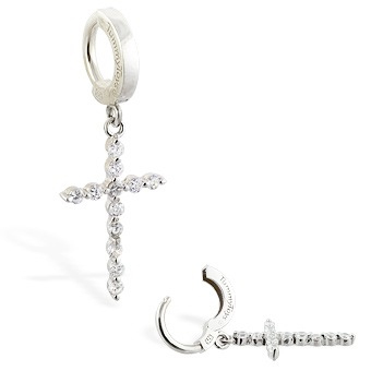TummyToys® CZ Diamond Cross Belly Ring - Australian Belly Ring Store