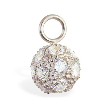 Designer Belly Rings. TummyToys Cubic Zirconia Disco Ball Swinger - Changeable Dangling 925 Silver Charm