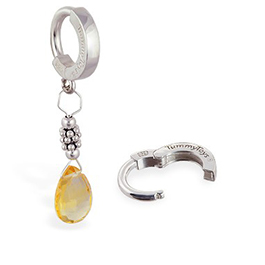 TummyToys Citrine and Silver Belly Ring -  Citrine Pendant Body Jewellery with Silver Rondels and Beads