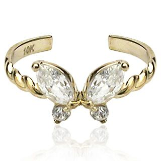 SOLID Yellow Gold Butterfly Toe Ring