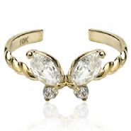 SOLID Yellow Gold Butterfly Toe Ring - Stamped 10K Solid Gold