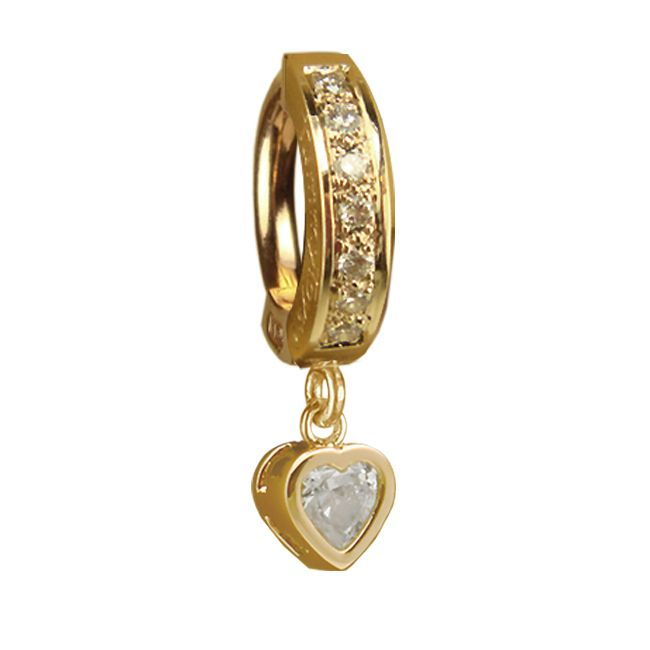 TummyToys® Yellow Gold Cubic Zirconia Heart with DIAMOND Pave Clasp. High End Belly Rings.