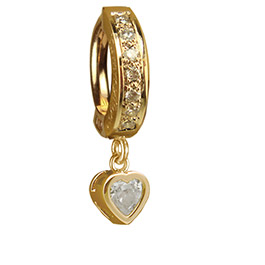 TummyToys Yellow Gold Cubic Zirconia Heart with DIAMOND Pave Clasp - Solid Yellow Gold Snap Lock Belly Button Ring