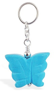 TummyToys Turquoise Butterfly Belly Ring Swinger - Changeable Solid Silver and Turquoise Belly Charm