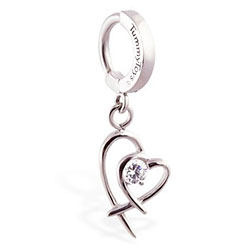 TummyToys® Double Heart Surgical Steel Clasp - Surgical Steel Snap Lock Body Jewellery Clasp