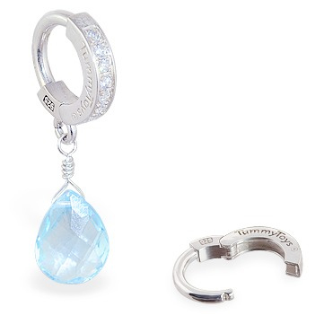 TummyToys® Blue Topaz on Clear CZ Paved Clasp - Australian Belly Ring Store
