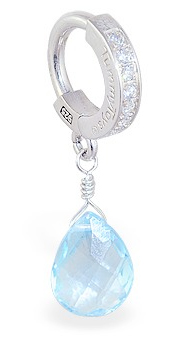 TummyToys Blue Topaz on Clear CZ Paved Clasp - Solid Silver Clasp Lock Body Jewellery