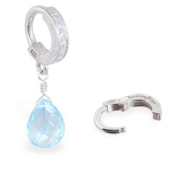 TummyToys® Blue Topaz on Clear CZ Paved Clasp