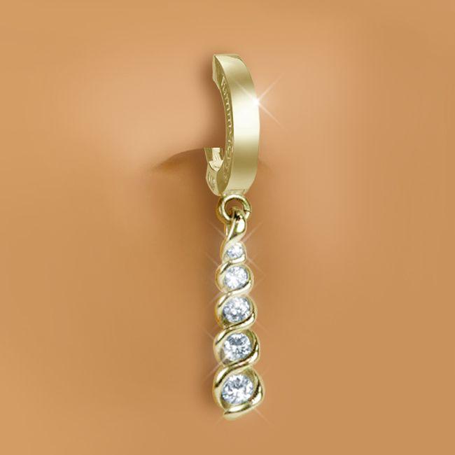 tummytoys yellow gold diamond journey navel ring belly. Black Bedroom Furniture Sets. Home Design Ideas